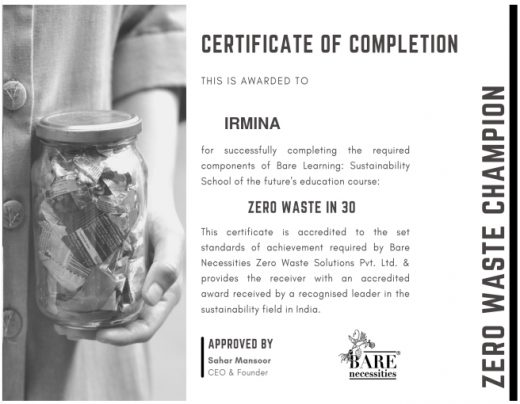 Certificate zero waste course